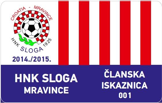 HNK Sloga - članska iskaznica za 2014-2015 sezonu